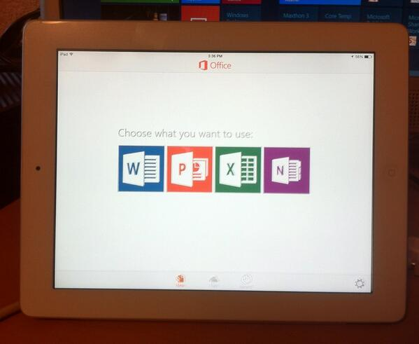 Office for ipad screen
