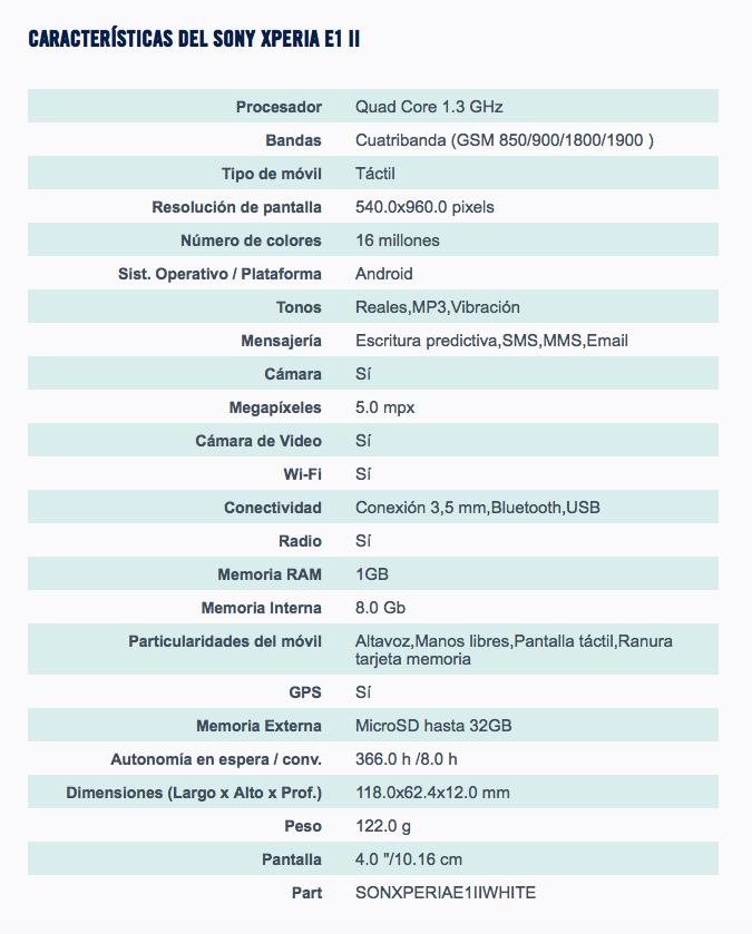 Sony Xperia E1 II spec