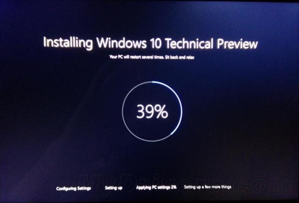 Windows 10-install screen